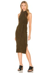 Lavish Alice Rib Knit Open Back Wrap Tie Midi Dress Green