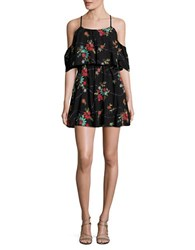 Romeo And Juliet Couture Embroidered Cold Shoulder Dress Black Multicolor
