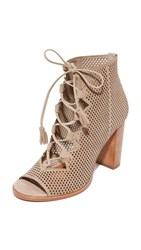 Frye Gabby Perf Ghillie Open Toe Booties Taupe