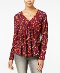 One Hart Juniors' Printed Crochet Trim Ruched Top Only At Macy's Merlot Floral