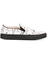 Giambattista Valli Flower Embroidered Slip On Sneakers Grey