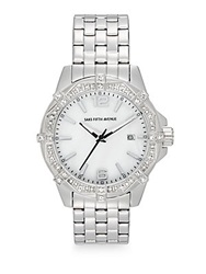Saks Fifth Avenue Stainless Steel And Deco Crystal Bezel Watch Silver