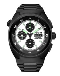 Tockr Watches Air Defender Panda Stainless Steel Chronograph Watch With Bracelet Black Pvd White Black