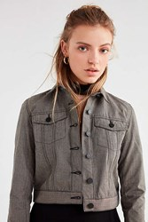 Urban Outfitters Uo Cropped Gingham Trucker Jacket Black Multi
