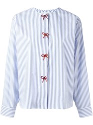 J.W.Anderson Collarless Striped Bow Shirt Blue