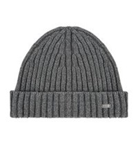 Boss Ribbed Cashmere Blend Beanie Grey