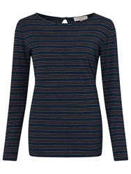 East Stripe Boat Neck Top Navy