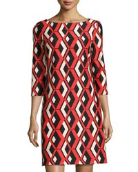 Taylor Printed Ponte Shift Dress Red Pattern