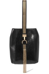 Lanvin Embellished Python And Leather Wristlet Bag Black