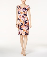 Jessica Howard Printed Cowl Neck Dress Pink Multi