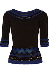 Temperley London Dina Two Tone Stretch Knit Sweater