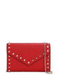 Valentino Rockstud Smooth Leather Chain Wallet Rouge Pure