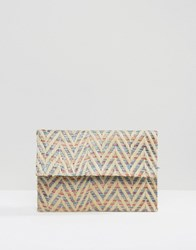 Glamorous Chevron Detail Foldover Clutch Bag Multi