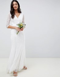 Little Mistress Bridal Long Sleeve White Maxi With Jewel Cream