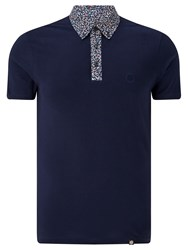 Pretty Green Reilly Print Polo Shirt Navy