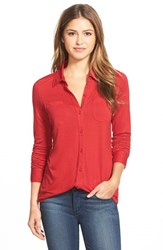 Petite Women's Caslon Long Sleeve Knit Shirt