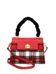 Miu Miu Plaid Wool Leather And Velvet Top Handle Satchel Red Tartan