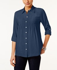 Styleandco. Style Co. Petite Roll Tab Shirt Only At Macy's New Uniform Blue