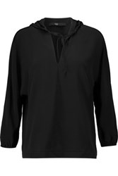 Tibi Silk Crepe Hooded Top Black