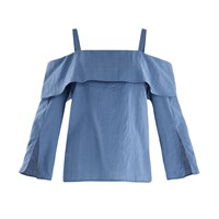Paisie Fold Over Cold Shoulder Top In Blue