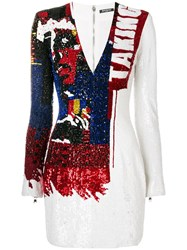 Balmain Sequin Embroidered Bodycon Dress White