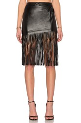 Toby Heart Ginger Angled Leatherette Midi Skirt Black