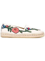 Gucci Floral Embroidered Espadrilles Women Leather Rubber 39 White