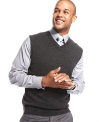 Club Room Men's Big And Tall Cashmere Solid Sweater Vest Dark Charcoal Heather