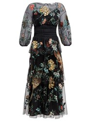 Fendi Floral Embroidered Tulle Overlay Silk Gown Black Multi
