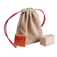 Stow Luxury Suede Jewellery Pouch And Removable Ring Cushion Beige And Hot Pink Neutrals