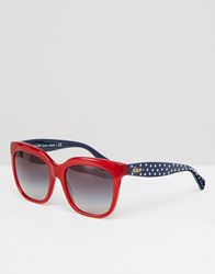 Ralph By Ralph Lauren Red Sunglasses With Polka Dot Arms Red