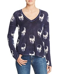 Aqua Cashmere Chaos Skull Cashmere Sweater Navy Chalk