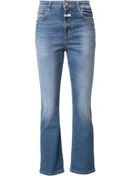 Closed Stretch Flared Cropped Jeans Blue