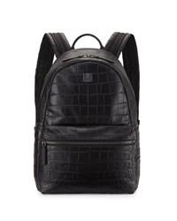 Luxus Crocodile Embossed Backpack Black Mcm