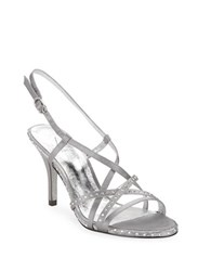 Adrianna Papell Acacia Satin Stiletto Sandals Pewter