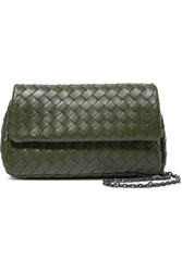 Bottega Veneta Messenger Mini Intrecciato Leather Shoulder Bag Green