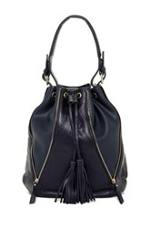 Sondra Roberts Nappa Drawstring Shoulder Bag Blue