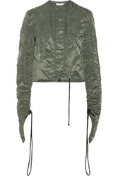 J.W.Anderson Cropped Textured Satin Twill Jacket Army Green