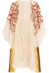 Chloe Appliqued Silk Crepon Dress Cream