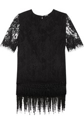 Adam By Adam Lippes Layered Fringed Chantilly Lace Top Black
