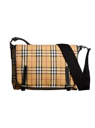 Burberry Large Leather Trim Vintage Check Messenger Bag Nude And Neutrals