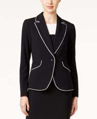 Nine West One Button Piped Jacket Black Lily