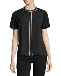 Karl Lagerfeld Pleated Sleeve Contrast Trim Blouse Black