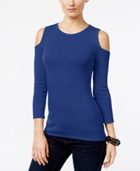 Inc International Concepts Cold Shoulder Sweater Only At Macy's Goddess Blue