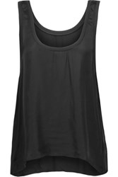 Enza Costa Ribbed Knit Trimmed Satin Tank Black