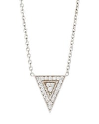 Penny Preville 18K White Gold Medium Diamond Triangle Pendant Necklace