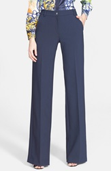 Versace Wide Leg Stretch Cady Pants Navy