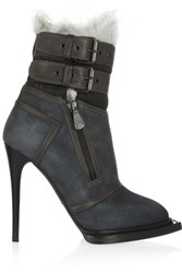 Mcq By Alexander Mcqueen Leather Trimmed Suede And Shearling Ankle Boots Storm Blue