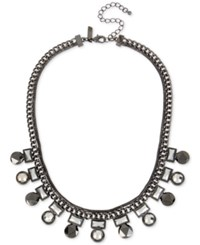 Inc International Concepts Hematite Tone Geometric Stone Collar Necklace Only At Macy's Gray