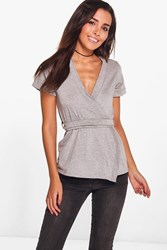 Boohoo Tegan Wrap Over Tie Front Short Sleeve Top Grey Marl